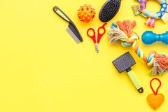Cats and dogs toys and acessories for pets yellow background top view mockup stock images