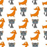 Cats dogs vector illustration cute animal funny seamless pattern background characters feline domestic trendy pet Royalty Free Stock Images