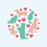 Cats and dogs vector silhouette round composition Stock Images