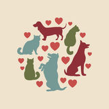 Cats and dogs vector silhouette round composition Royalty Free Stock Images