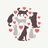 Cats and dogs vector silhouette round composition Royalty Free Stock Photography