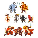 Cats and dogs warriors fighting set, knights, ninjas, gladiators characters in armor with swords vector Illustration on. Cats and dogs warriors fighting set vector illustration