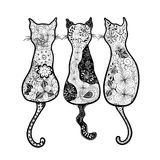 Cats  doodle Stock Images