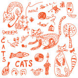 Cats doodle set funny Stock Photography