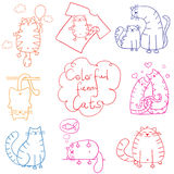 Cats doodle set funny cartoon Stock Photography