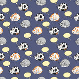 Cats Dreaming Seamless Pattern Stock Images