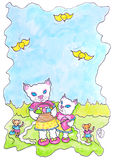Cats Easter Best Hand Painted Stock Images