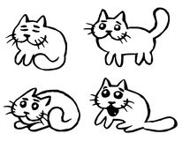 Cats Emoticons Set  Royalty Free Stock Images