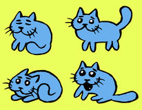 Cats Emoticons Set Vector Illustration. Blue Cats Emoticons Set. Funny Cartoon Cool Character. Contour Freehand Digital Drawing Cute Pet. Light Green Color Stock Photography
