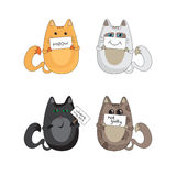Cats emotions. Illustration of four cats holding plaque with words Royalty Free Stock Image