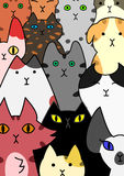 Cats face collection. Cute hand-drawn cats face collection Stock Photography
