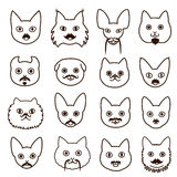 Cats faces with mustache set Royalty Free Stock Image