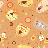 Cats faces pattern Stock Images