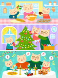Cats family on Christmas. Cartoon family of cats preparing for Christmas and celebrating it together Stock Photography