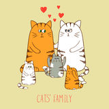 Cats family. Cute kittens. Stock Image