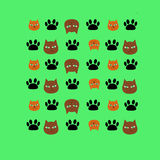 Cats and feet. Texture with cats and cat tracks royalty free illustration