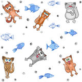 Cats and fish seamless vector pattern Stock Photos