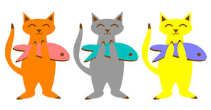 Cats with fish set. Clip art graphics set of three cats holding big fish Stock Photos