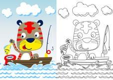 Cats fishing time cartoon stock illustration