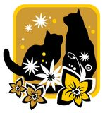 Cats and flowers. Two cats and flower  silhouettes on a yellow background Royalty Free Stock Photos
