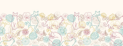Cats among flowers horizontal seamless pattern. Vector cats among flowers horizontal seamless pattern ornament background with hand drawn elements Stock Images