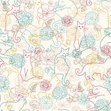 Cats among flowers seamless pattern background Stock Image
