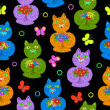 Cats with flowers seamless pattern Stock Image