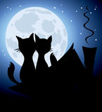 Cats and a full moon. Illustration, background -- lovers cats on the roof Royalty Free Stock Photos