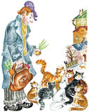 Cats and funny man. Old-fashioned person offering onion to the alley cats. Watercolors/pastel illustration Royalty Free Stock Photos