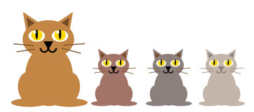 Cats 01. Funny vector cats in white background stock illustration