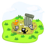 Cats and garbage pit. Four cats in a garbage can. Cartoon scene. Vector. Isolated Stock Image