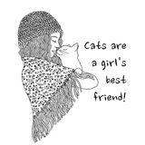 Cats are a girl`s best friend! Stock Photo