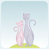 Cats. Greeting card with cute cats. Vector illustration Stock Photography