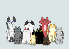 Cats group. Group of cute cats sitting stock illustration