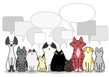 Cats group with speech bubbles Stock Photo