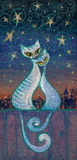 Cats. Hand painted picture of two cats in love hugging on chimney at night Stock Photos