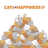 Cats are happiness. Vector illustration  on white background Stock Image