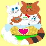 Cats' Happy Family Stock Photo