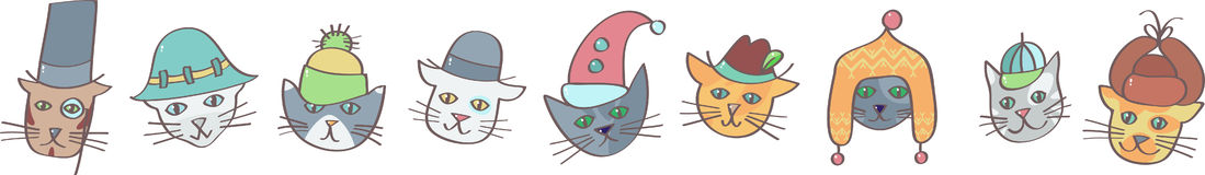 Cats in hats Royalty Free Stock Photos