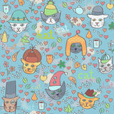 Cats in hats seamless pattern Stock Image