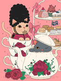 Cats having afternoon tea. Cats having british afternoon tea, delicious snacks and teapot set Royalty Free Stock Photo