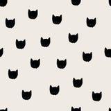 Cats head hand drawn seamless pattern. stock illustration