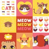 Cats heads illustration. Cute animal faces. Funny cartoon characters for banner. Domestic trendy pets. Kitten thinking vector illustration