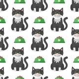 Cats heads vector illustration cute animal funny seamless pattern   Stock Images