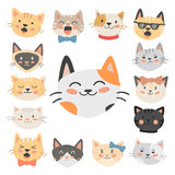 Cats heads vector illustration cute animal funny decorative characters feline domestic trendy pet drawn Royalty Free Stock Photography