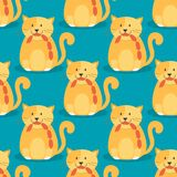 Cats heads vector illustration cute animal funny seamless pattern background characters feline domestic trendy pet Royalty Free Stock Image