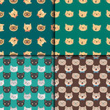 Cats heads vector illustration cute animal funny seamless pattern characters feline domestic trendy pet Stock Photos