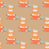 Cats heads vector illustration cute animal funny seamless pattern  Stock Photography