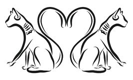 Cats and a heart of tails.  Royalty Free Stock Image