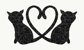 Cats with a heart of tails, with a romantic pattern Stock Photos